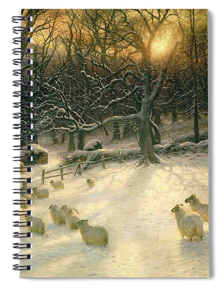 Winter Spiral Notebook featuring the painting The Shortening Winters Day Is Near A Close by Joseph Farquharson