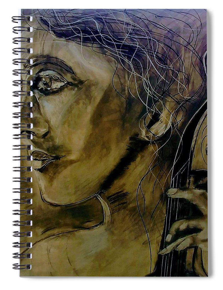 Music Spiral Notebook featuring the drawing The Solo by J Bauer