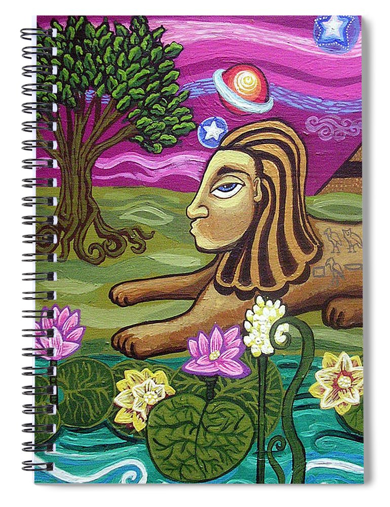 Egypt Spiral Notebook featuring the painting The Sphinx by Genevieve Esson
