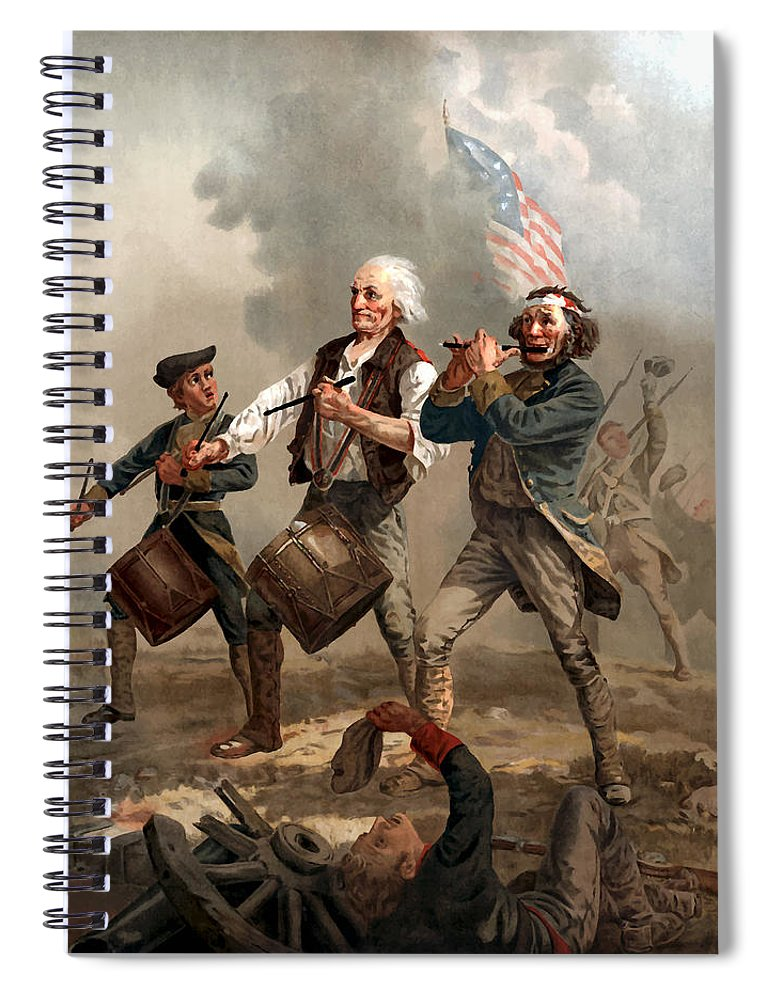 Yankee Doodle Spiral Notebook featuring the painting The Spirit Of '76 by War Is Hell Store