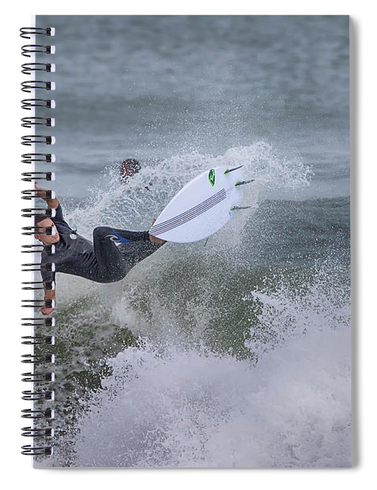 Surfer Spiral Notebook featuring the photograph The Spray by Deborah Benoit