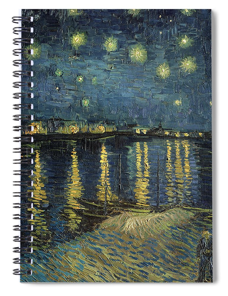 The Spiral Notebook featuring the painting The Starry Night by Vincent Van Gogh