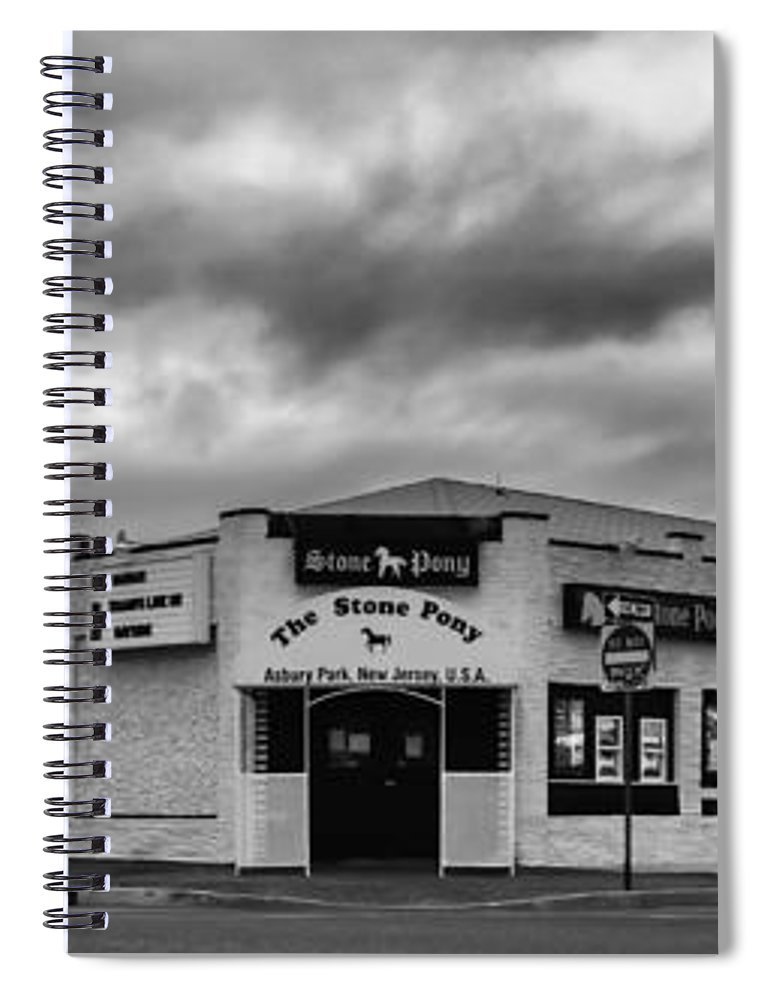Terry D Photography Spiral Notebook featuring the photograph The Stone Pony Asbury Park New Jersey Black and White by Terry DeLuco
