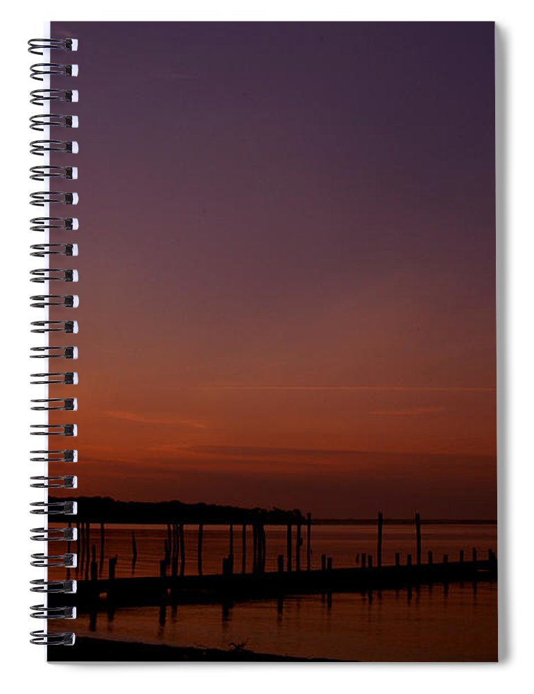 Clay Spiral Notebook featuring the photograph The Sun Sets Over The Water by Clayton Bruster