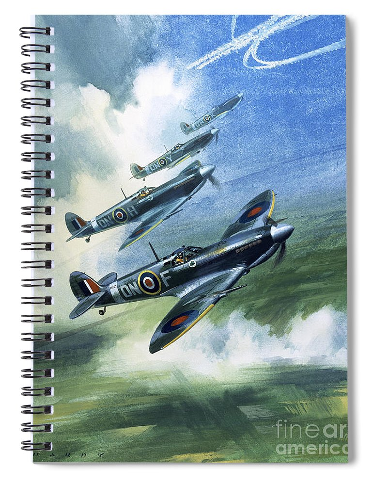 The Spiral Notebook featuring the painting The Supermarine Spitfire Mark Ix by Wilfred Hardy