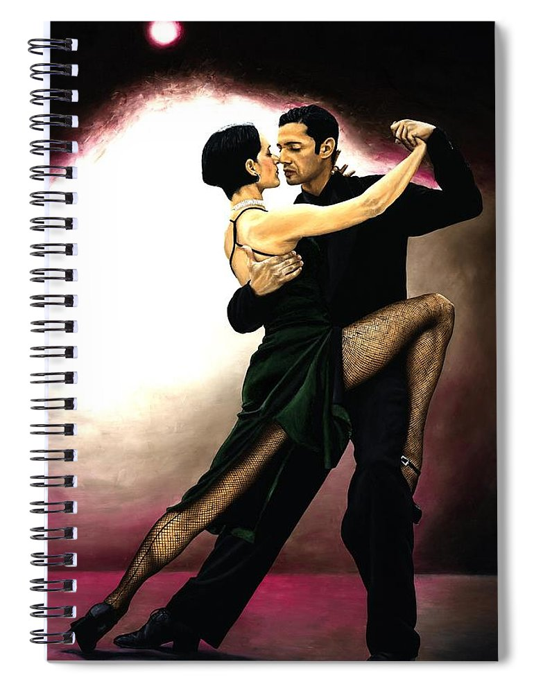 Tango Spiral Notebook featuring the painting The Temptation of Tango by Richard Young