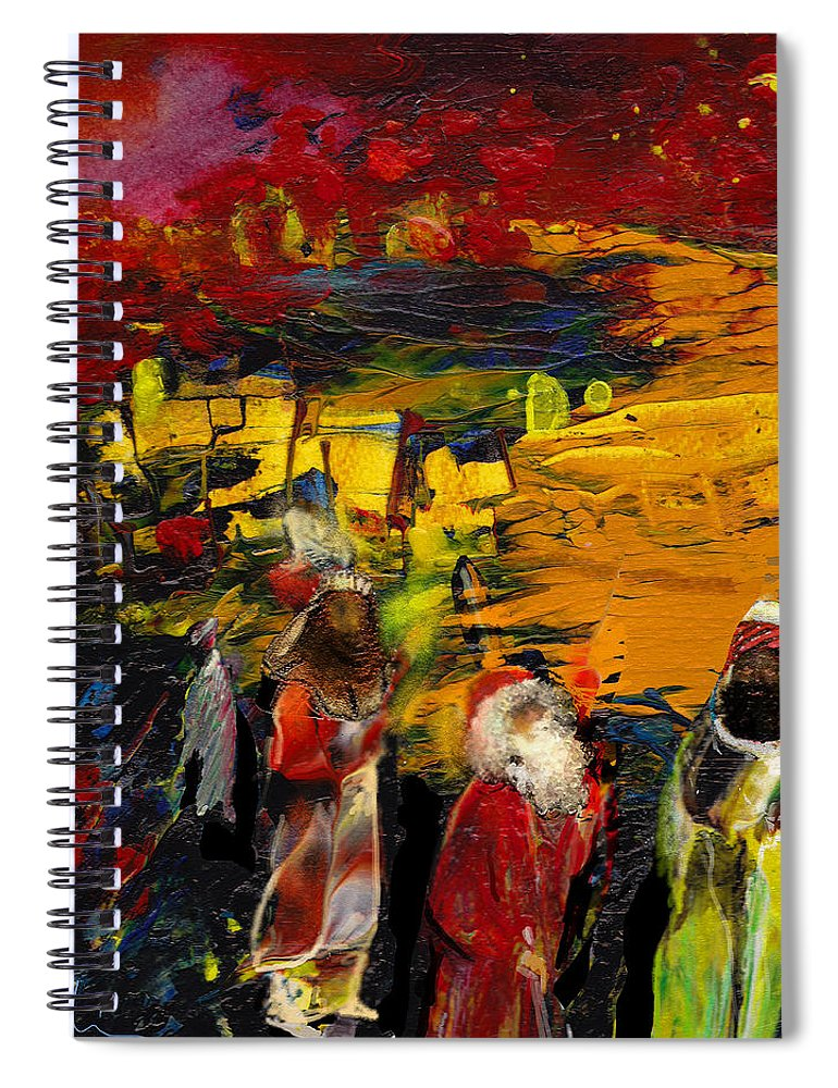 Epiphany Spiral Notebook featuring the painting The Three Kings by Miki De Goodaboom