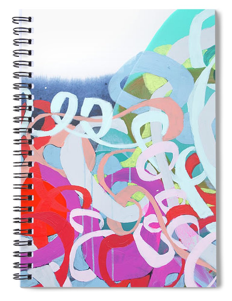 Abstract Spiral Notebook featuring the painting The Thrill Of It All by Claire Desjardins