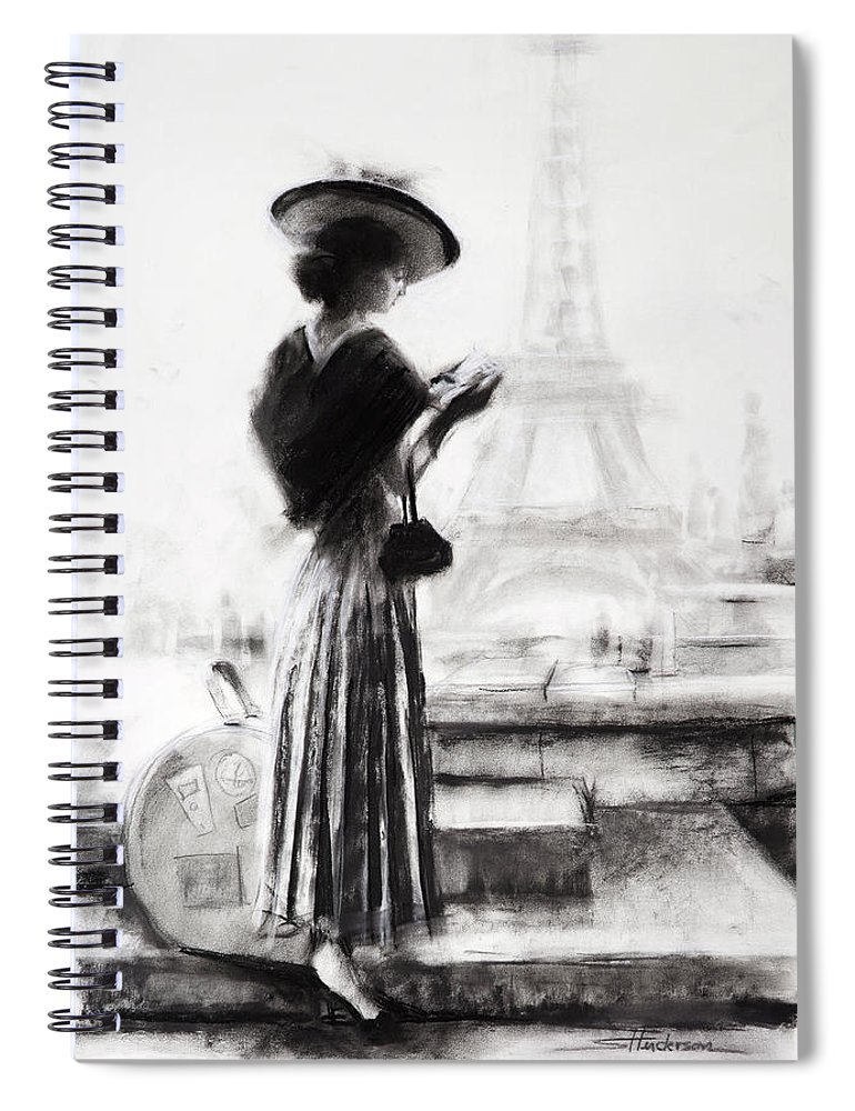 Woman Spiral Notebook featuring the painting The Traveler by Steve Henderson