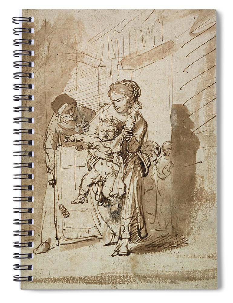 Rembrandt Spiral Notebook featuring the drawing The Unruly Child by Rembrandt