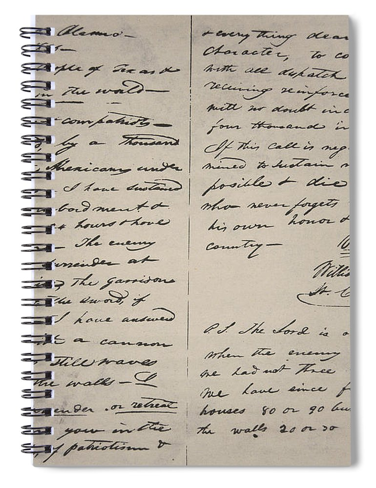 William Barret Travis Spiral Notebook featuring the drawing The Victory Of Death Letter Written By The Alamo Commander William Barret Travis, 1836 by William Barret Travis