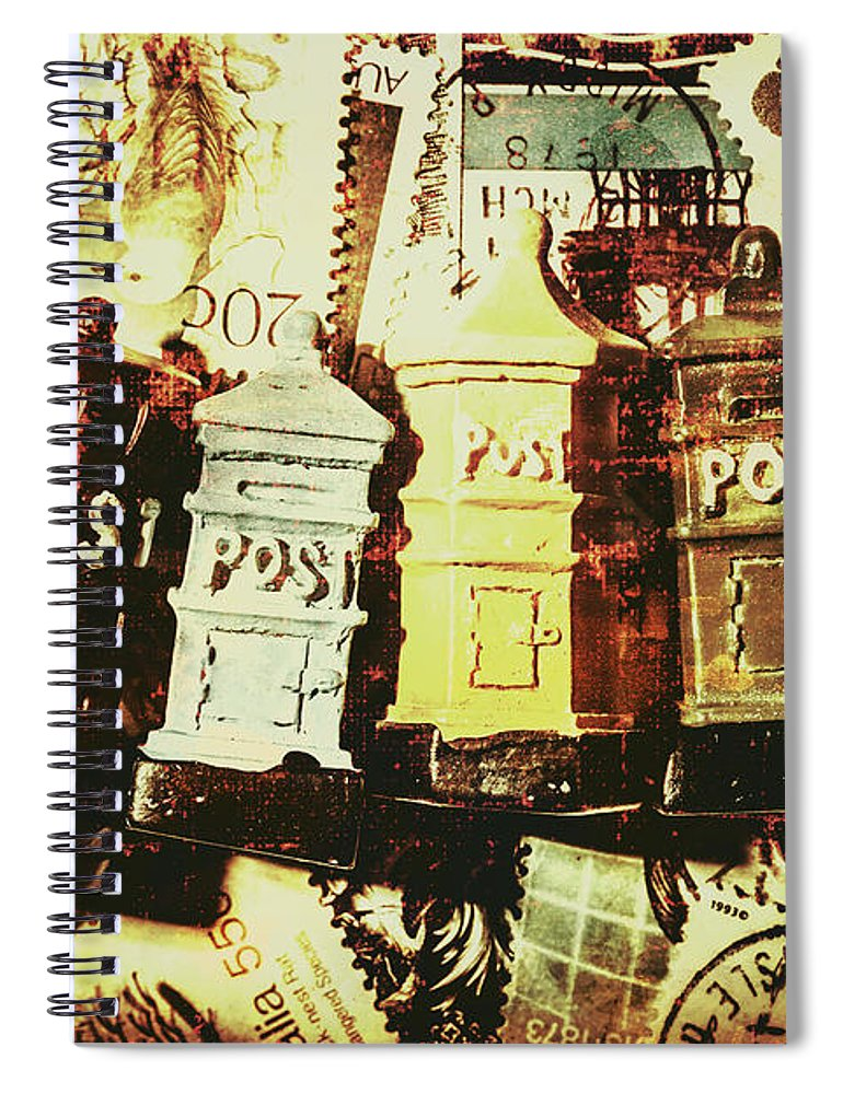 Post Spiral Notebook featuring the photograph The Vintage Postage Card by Jorgo Photography - Wall Art Gallery