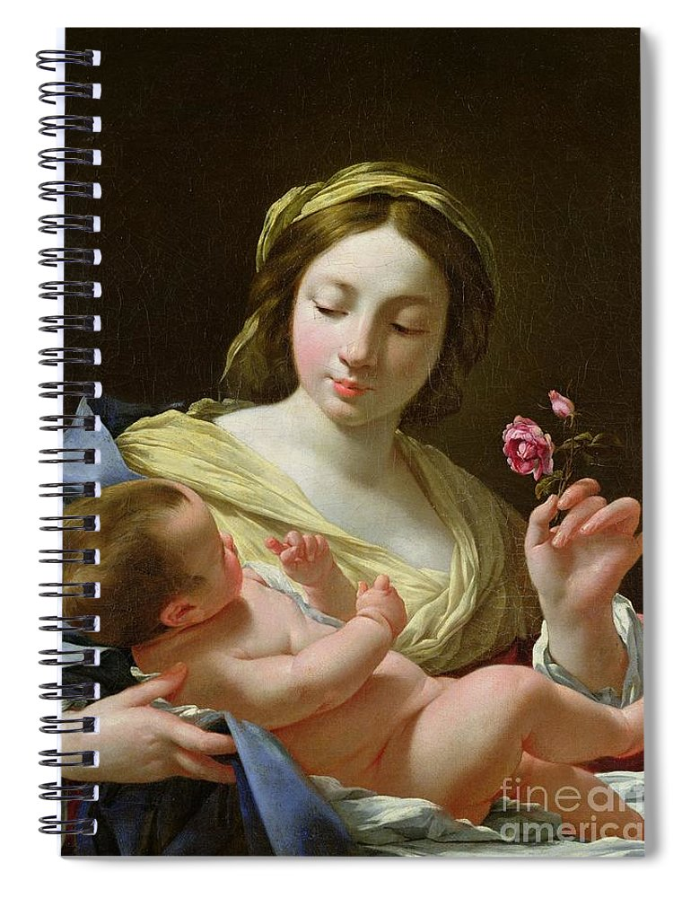 Jesus Spiral Notebook featuring the painting The Virgin and Child with a Rose by Simon Vouet