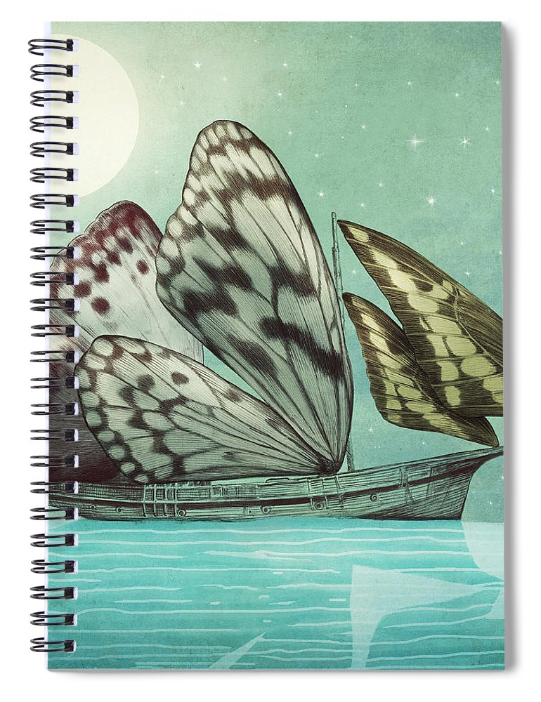 Butterfly Spiral Notebook featuring the drawing The Voyage by Eric Fan