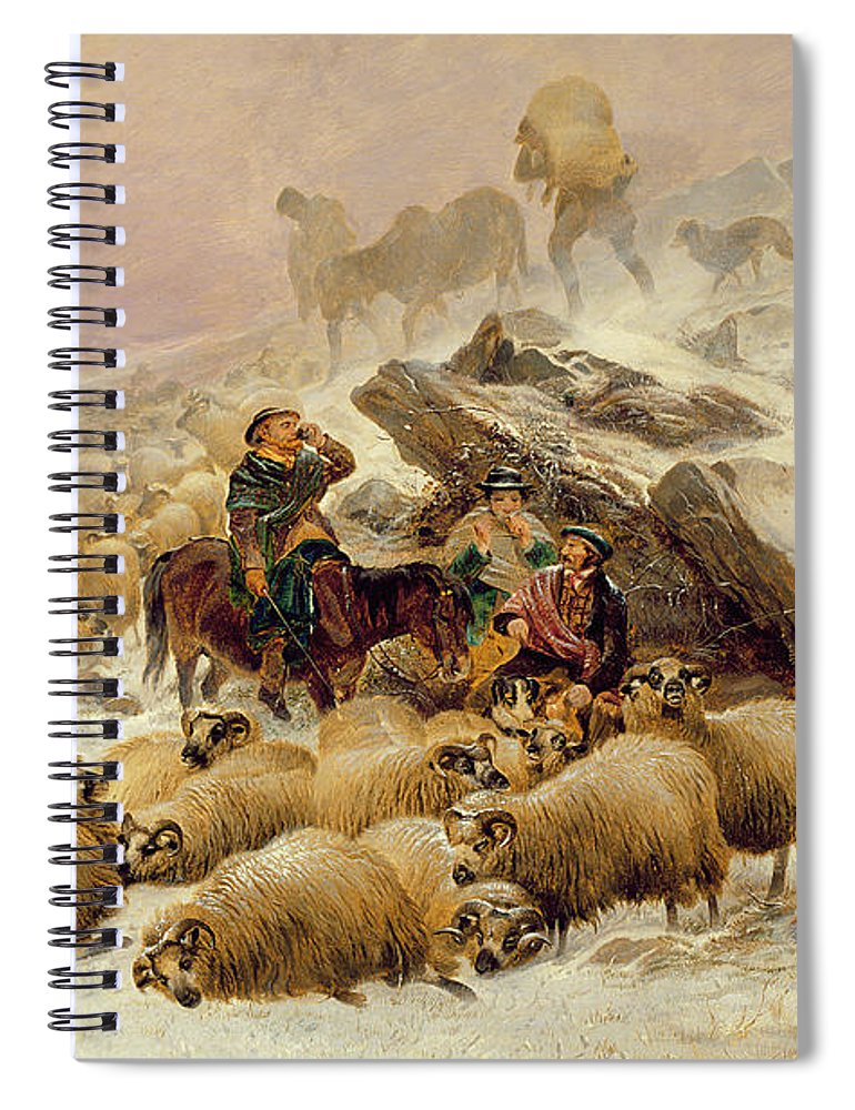 Sheep Spiral Notebook featuring the painting The Warmth Of A Wee Dram by TS Cooper