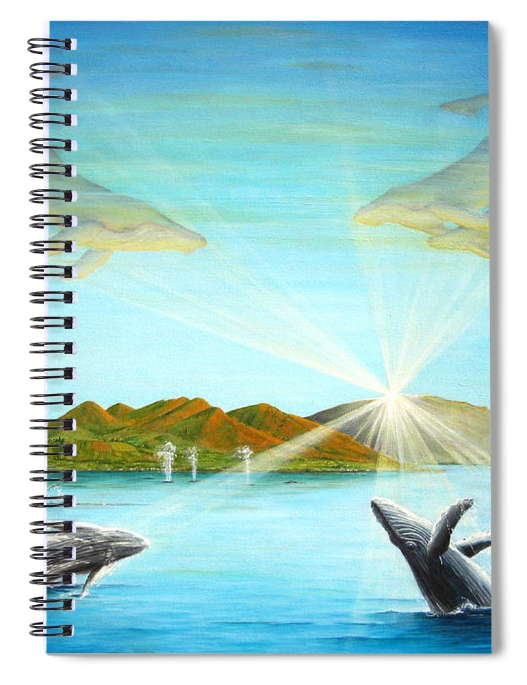 Whales Spiral Notebook featuring the painting The Whales Of Maui by Jerome Stumphauzer