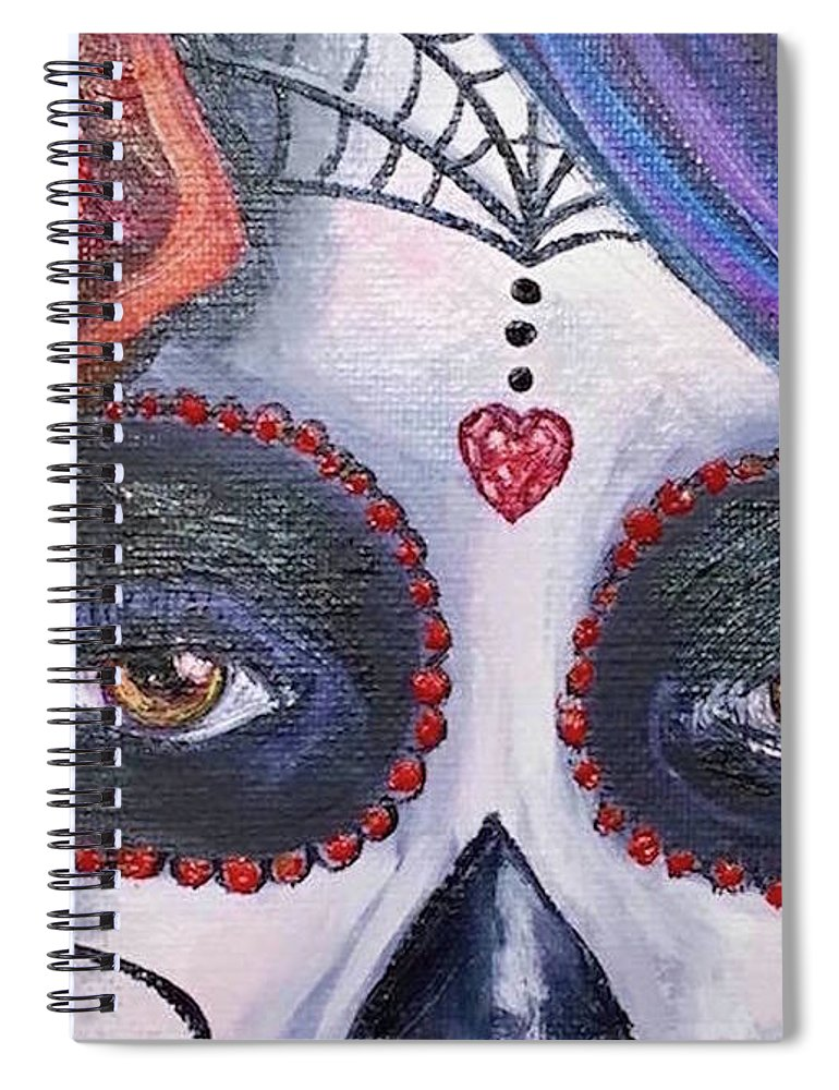 Dia De Los Muertos Spiral Notebook featuring the painting The Windows To The Soul by Melissa Torres