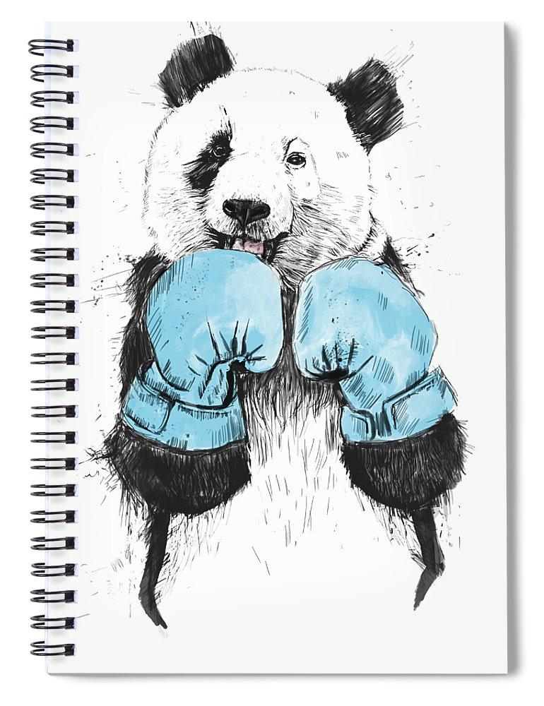 Panda Spiral Notebook featuring the digital art The Winner by Balazs Solti