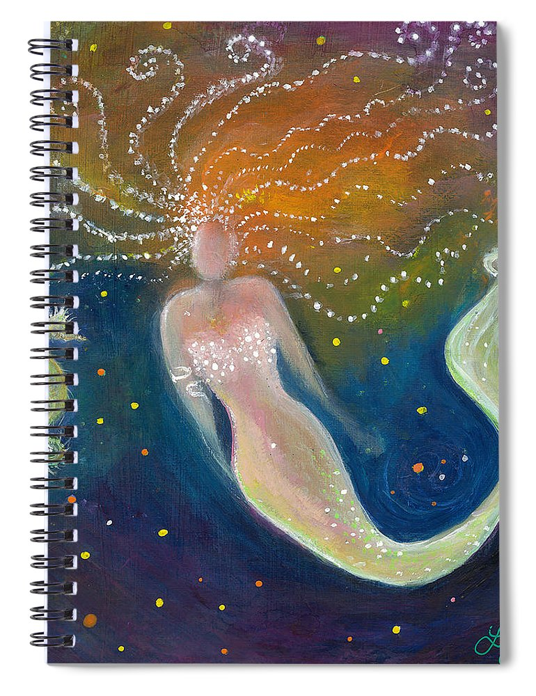 Mermaid Spiral Notebook featuring the painting The Wish - Mermaid And Seahorse by Lily Nava