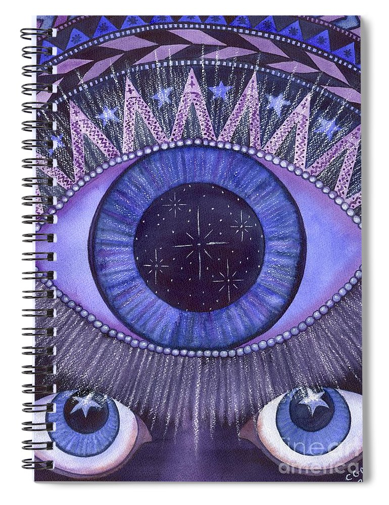 Thrid Eye Spiral Notebook featuring the painting Third Eye Chakra by Catherine G McElroy