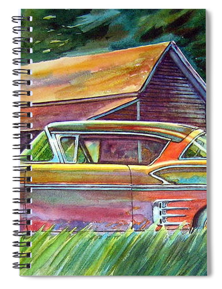 Rusty Car Chev Impala Spiral Notebook featuring the painting This Impala Doesn by Ron Morrison