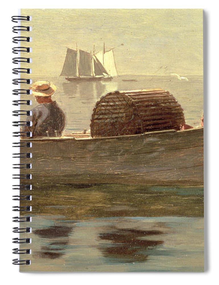 Boat Spiral Notebook featuring the painting Three Boys In A Dory by Winslow Homer