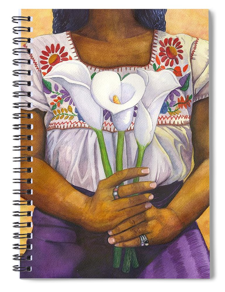 Lily Spiral Notebook featuring the painting Three Calla Lilies by Catherine G McElroy