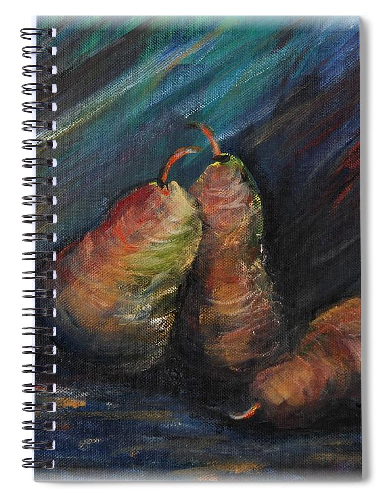 Pears Fruit Stilllife Blue Red Gold Orange Spiral Notebook featuring the painting Three Pears by Nadine Rippelmeyer