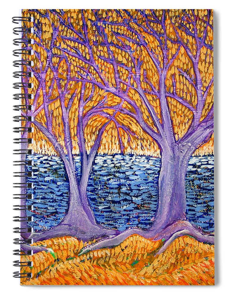 Landscape Spiral Notebook featuring the painting Three Trees by Rollin Kocsis