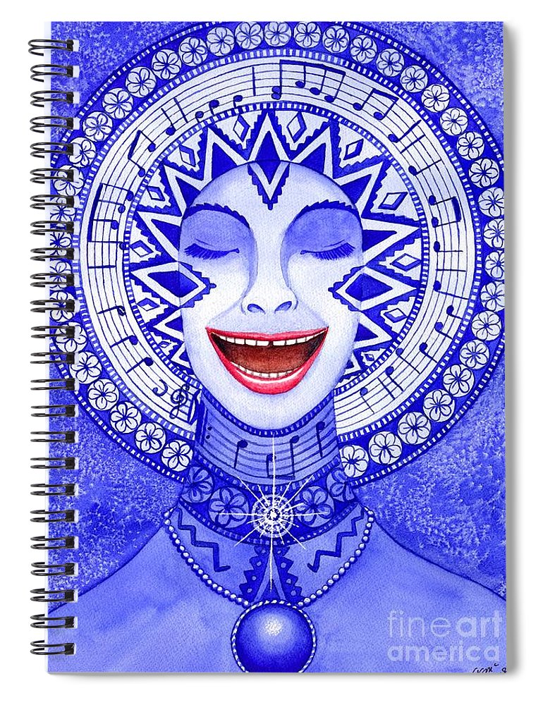 Chakra Spiral Notebook featuring the painting Throat Chakra by Catherine G McElroy