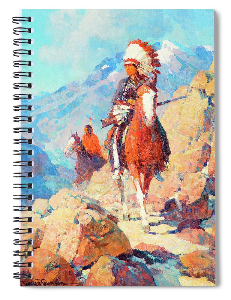 Leader Spiral Notebook featuring the painting Thunder Bird by Frank Tenney Johnson