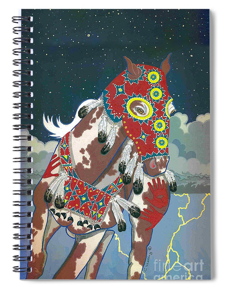 Native American Artwork Spiral Notebook featuring the painting Thunder Pony II by Chholing Taha