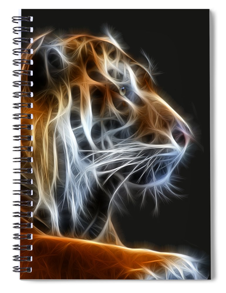 Tiger Spiral Notebook featuring the photograph Tiger Fractal 2 by Shane Bechler