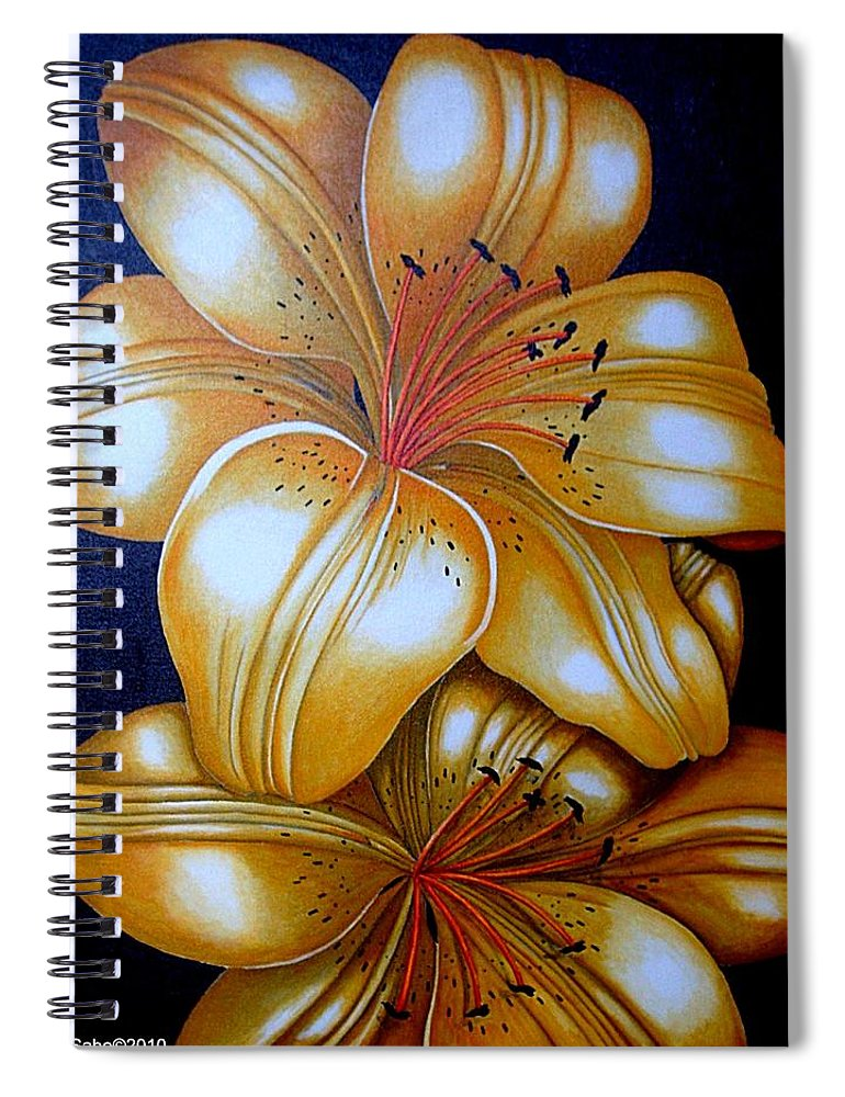 Flowers Spiral Notebook featuring the painting Tiger Lily Times Two by Carol Sabo
