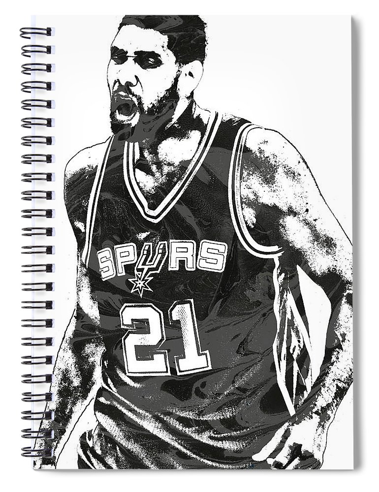 a7cf90545 Tim Duncan Spiral Notebook featuring the mixed media Tim Duncan San Antonio  Spurs Pixel Art 3