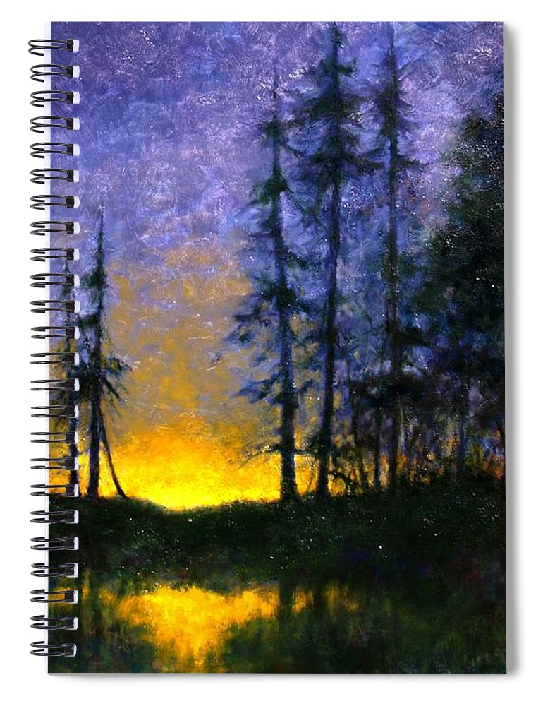 Landscape. Nocturn Spiral Notebook featuring the painting Timberline by Jim Gola
