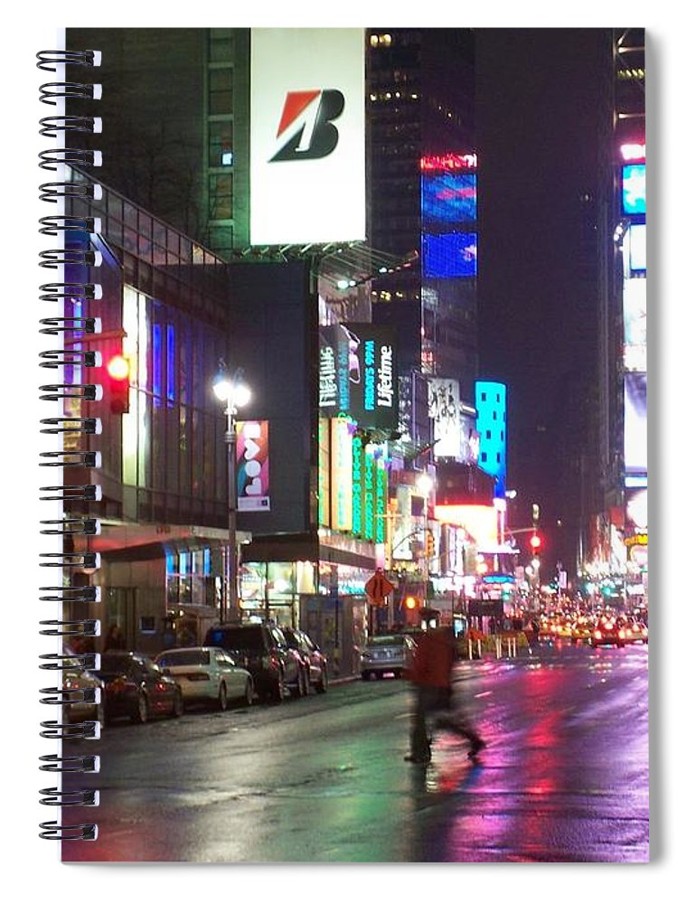 Times Square Spiral Notebook featuring the photograph Times Square in the rain 2 by Anita Burgermeister