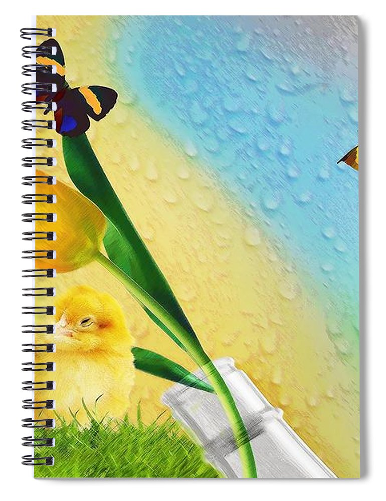 Bottle Spiral Notebook featuring the digital art Tiptoe Through The Tulips by Liane Wright