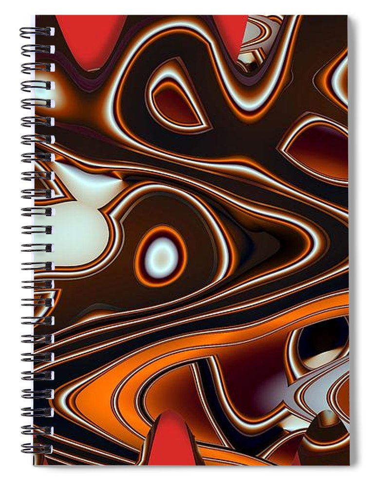 Abstract Spiral Notebook featuring the digital art Tlinget Homage 2 by Ron Bissett