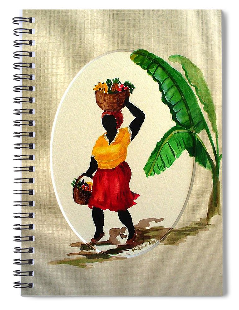 Caribbean Market Womanfruit & Veg Spiral Notebook featuring the painting To market by Karin Dawn Kelshall- Best
