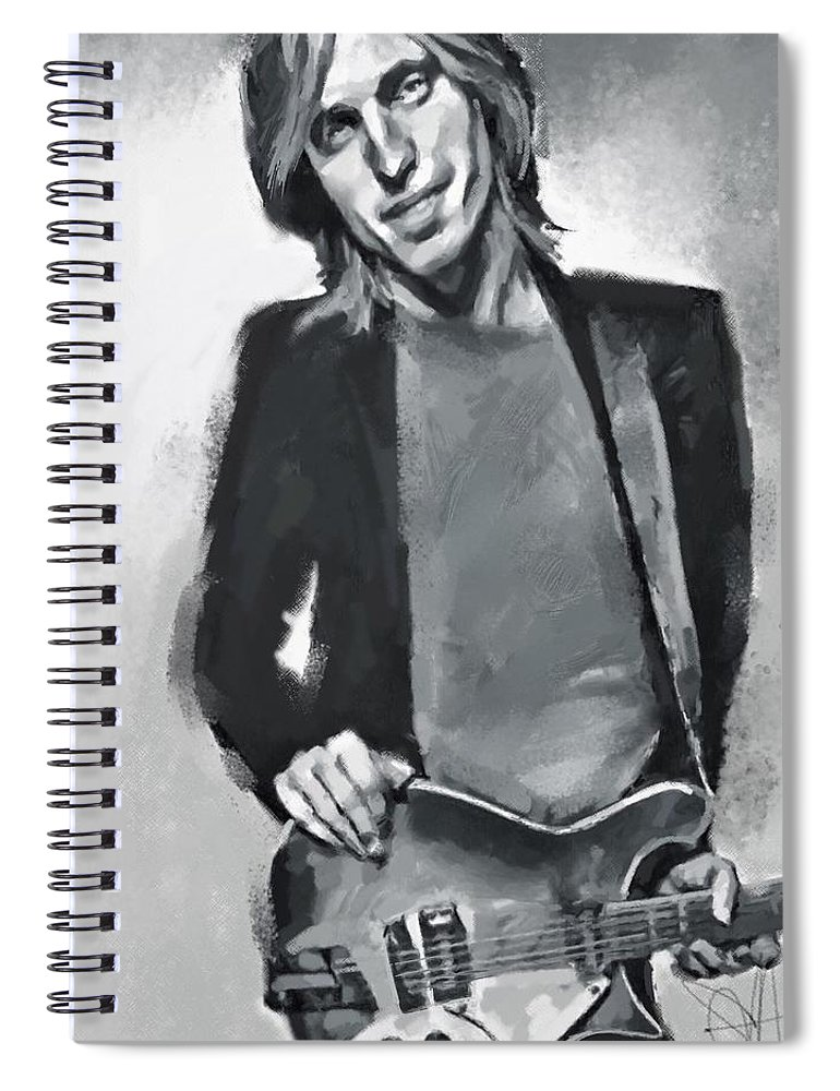 Tom Petty Music Portrait Musician Rock Spiral Notebook featuring the digital art Tom by Scott Waters