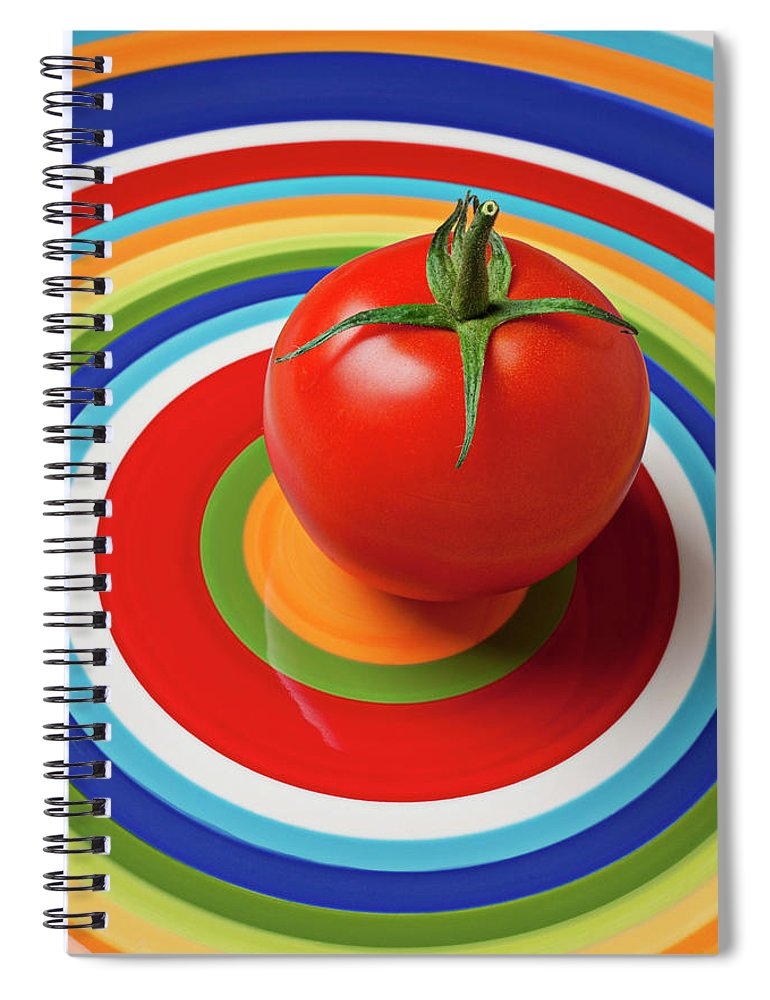 Tomato Plate Circle Food Fruit Spiral Notebook featuring the photograph Tomato On Plate With Circles by Garry Gay