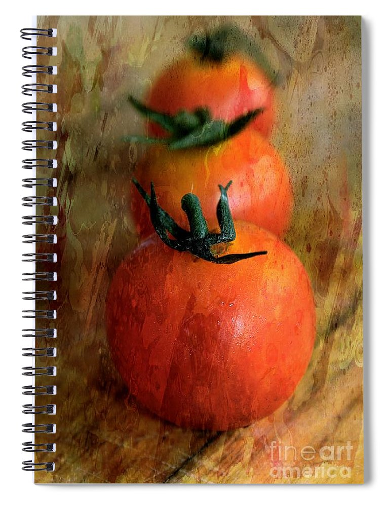 Cherry Tomato Spiral Notebook featuring the photograph Tommies by Clare Bevan