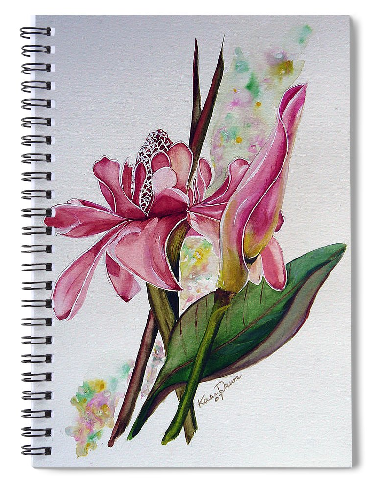 Flower Painting Floral Painting Botanical Painting Flowering Ginger. Spiral Notebook featuring the painting Torch Ginger Lily by Karin Dawn Kelshall- Best