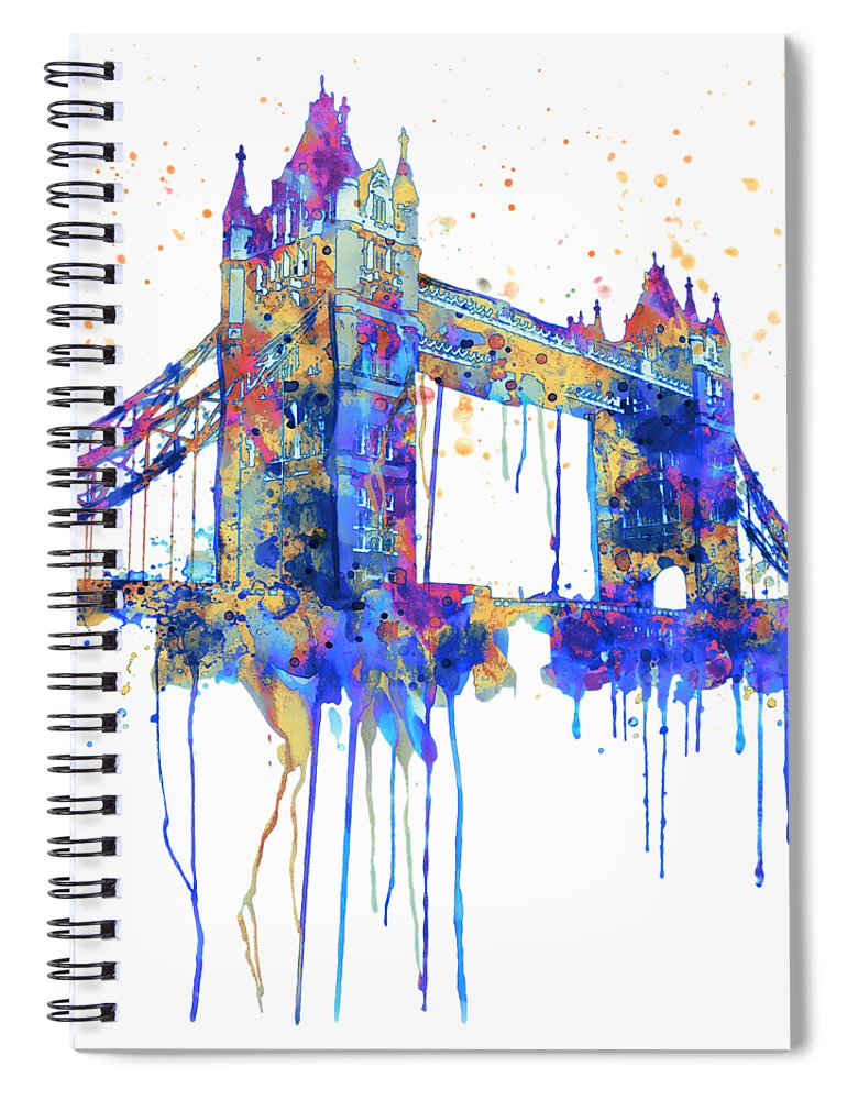Tower Bridge Spiral Notebook featuring the painting Tower Bridge Watercolor by Marian Voicu