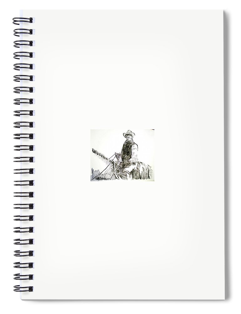 Trail Boss Spiral Notebook featuring the drawing Trail Boss by Seth Weaver