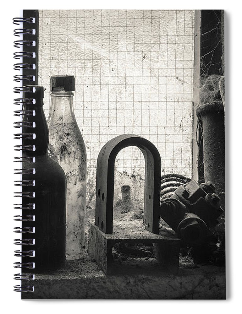 Window Spiral Notebook featuring the photograph Train Yard Window by Dave Bowman