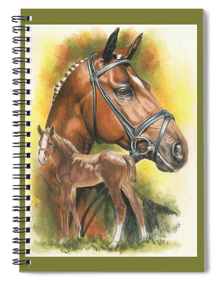 Jumper Hunter Spiral Notebook featuring the mixed media Trakehner by Barbara Keith
