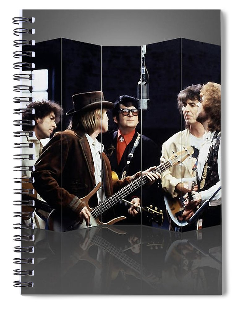 Traveling Wilburys Spiral Notebook featuring the mixed media Traveling Wilburys Art by Marvin Blaine