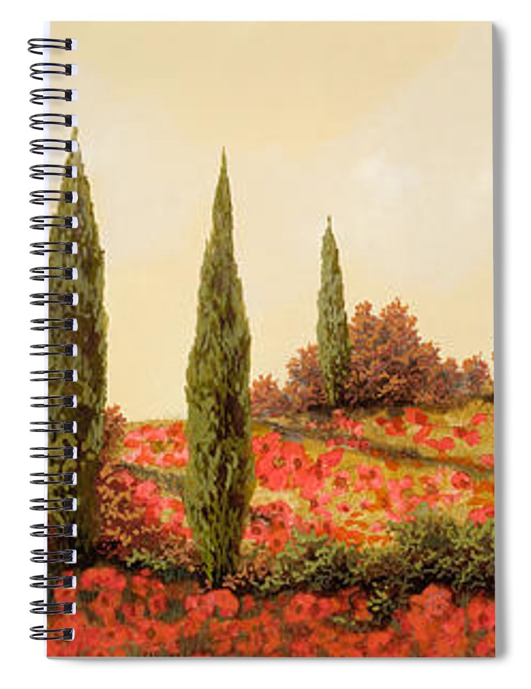 Landscape Spiral Notebook featuring the painting Tre Case Tra I Papaveri Rossi by Guido Borelli